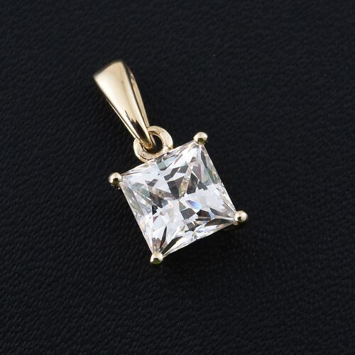 J Francis - 9K Yellow Gold (Princess Cut) Solitaire Pendant Made with SWAROVSKI ZIRCONIA