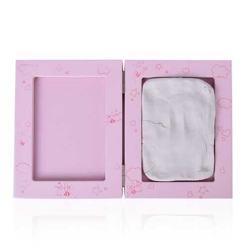 Baby Handprint and Footprint Keepsake Foldable Photo Frame Kit in Pink Colour (Size 16.6X12.8X2.8 Cm)