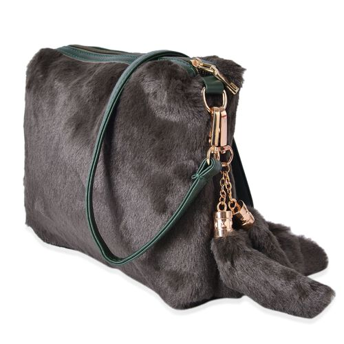 Dark Green Colour Faux Fur Sling Bag with Removable Shoulder Strap and Tassels (Size 28X22.5 Cm)
