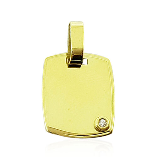 New York Collection-High Lustre High Polish 9K Y Gold Cushion Pendant