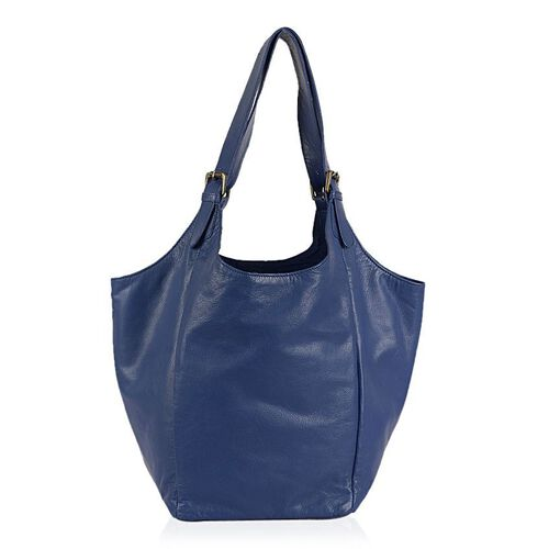 Genuine Leather Floral Embroidered Blue Colour Handbag with Adjustable Shoulder Strap (Size 50X30X21.5 Cm)