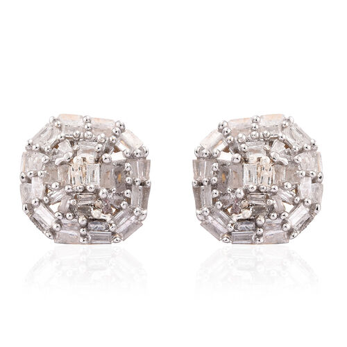 Diamond (Bgt) Stud Earrings (with Push Back) in 14K Gold Overlay Sterling Silver 0.500 Ct.
