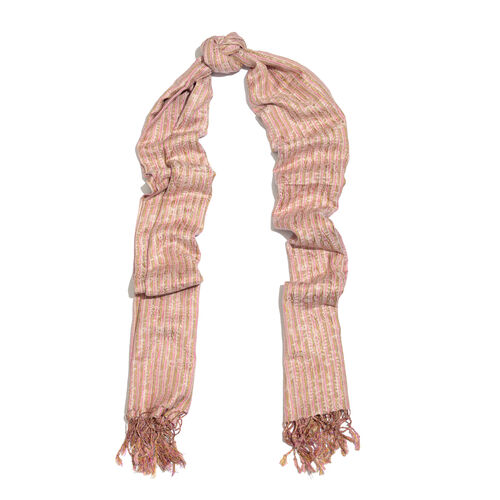 Close Out Deal Set of 2 - Pink and Multi Colour Stripes Pattern (Size 185X60 Cm), 70% Silk Red and Off White Colour Scarf with Tassels (Size 180X70 Cm)