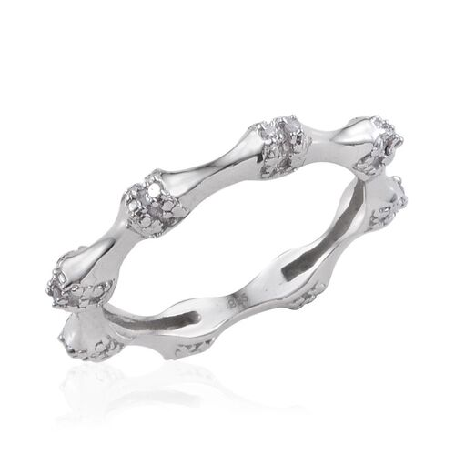 Diamond (Rnd) Stackable Bamboo Ring in Platinum Overlay Sterling Silver 0.050 Ct.