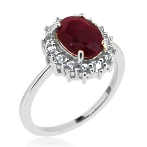 9K W Gold Burmese Ruby (Ovl 2.30 Ct.), Natural Combodian Zircon  Ring 3.000 Ct.