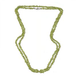 Hebei Peridot Chips Necklace (Size 52) with Lobster Lock in Platinum Overlay Sterling Silver 151.910 Ct.