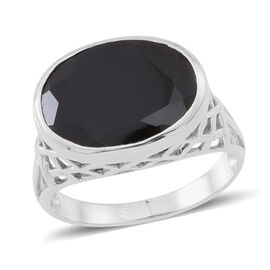 Boi Ploi Black Spinel (Ovl) Ring in Rhodium Plated Sterling Silver 12.000 Ct.