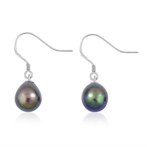 Fresh Water Peacock Pearl Drop Hook Earrings in Rhodium Plated Sterling Silver