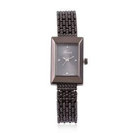 Designer Inspired- Diamond Studded GENOA Japanese Movement Bracelet Watch in Black Tone