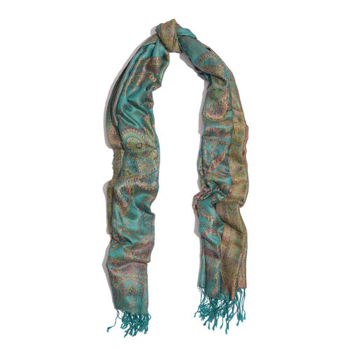 100% Superfine Silk Multi Colour Paisley Pattern Turquoise Colour Jacquard Jamawar Scarf with Fringes (Size 180x70 Cm) (Weight 125-140 Grams)