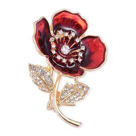 (Option 4) TJC Poppy Design - White Austrian Crystal Maroon Colour Enameled Poppy Flower Brooch in Yellow Gold Tone