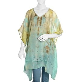 100% Mulberry Silk Turquoise, Yellow and Multi Colour Waterfall Pattern Kaftan (Size 100x90 Cm)
