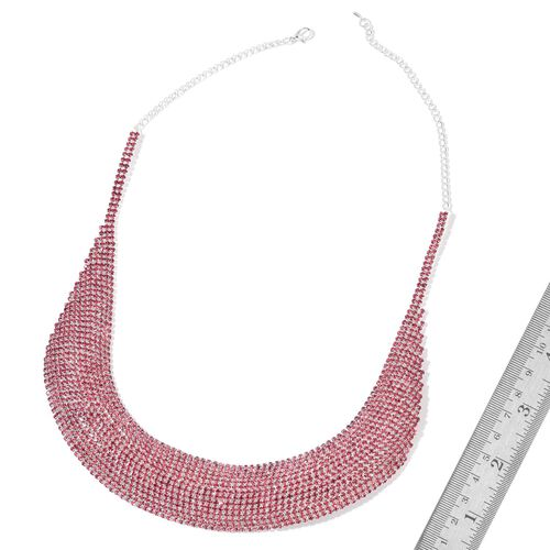 AAA Pink Austrian Crystal Collar Necklace (Size 18) in Silver Tone