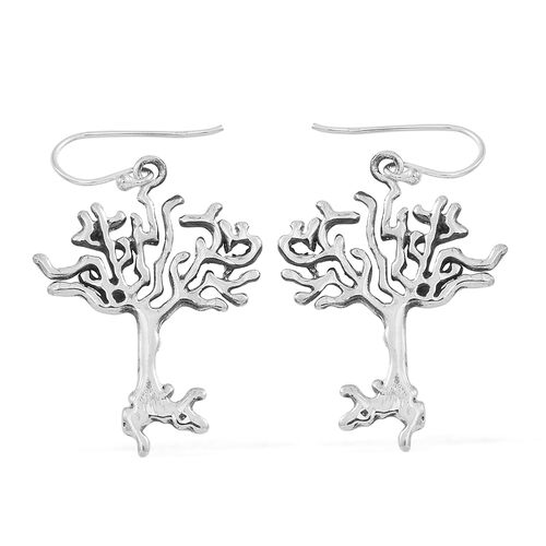 Statement Collection-Sterling Silver Tree of Life Hook Earrings, Silver wt 5.07 Gms.