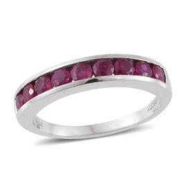 RHAPSODY 950 Platinum Pigeon Blood AAAA Burmese Ruby (Rnd) Half Eternity Ring 1.250 Ct.