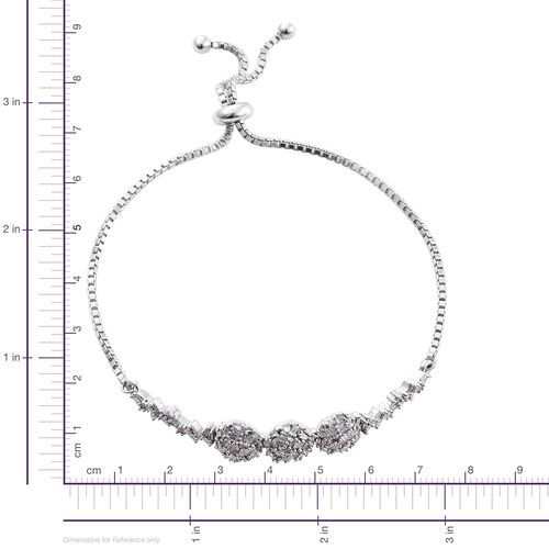 New Concept - Designer Inspired - Firecracker Diamond (Bgt) Bolo Bracelet (Size 6.5 to 8) in Platinum Overlay Sterling Silver 0.760 Ct.