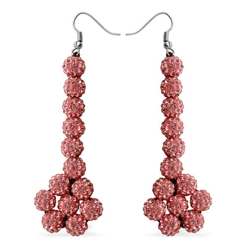 AAA Pink Austrian Crystal Drop Earrings with Hook in Stainless Steel