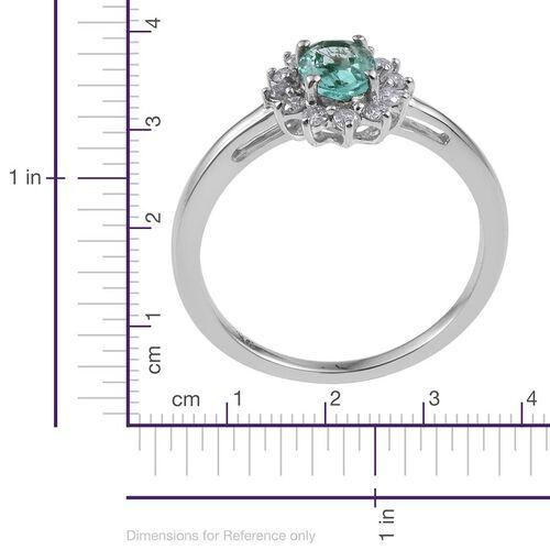 9K White Gold 1 Carat Boyaca Colombian Emerald, Diamond Ring.