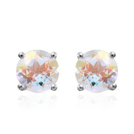 Mercury Mystic Topaz (Rnd) Stud Earrings (with Push Back) in Platinum Overlay Sterling Silver 2.750 Ct.