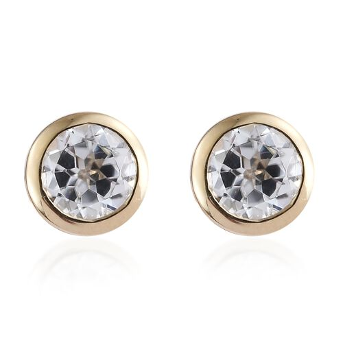 9K Yellow Gold 1.50 Ct Natural Cambodian Zircon Solitaire Stud Earrings (with Push Back)