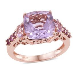 Rose De France Amethyst (Cush 5.20 Ct), Rhodolite Garnet Ring in Rose Gold Overlay Sterling Silver 6.000 Ct., Silver wt 3.74 Gms.