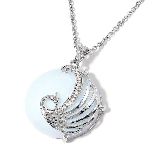 Opalite and White Austrian Crystal Phoenix Pendant with Chain (Size 28) in Silver Tone 133.000 Ct.