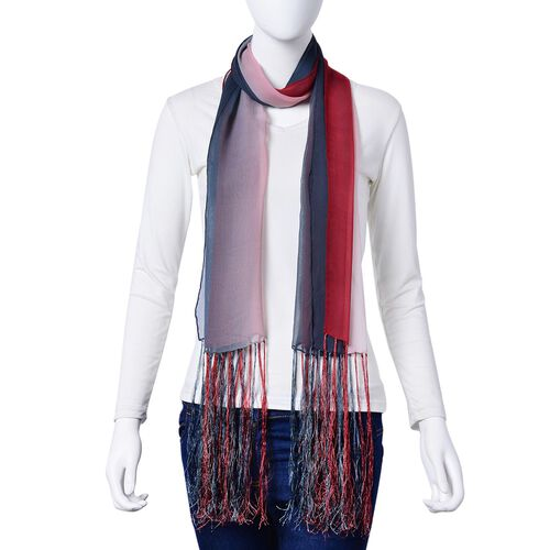 100% Mulberry Silk Grey and Pink Colour Scarf with Long Tassels (Size 160X50 Cm)