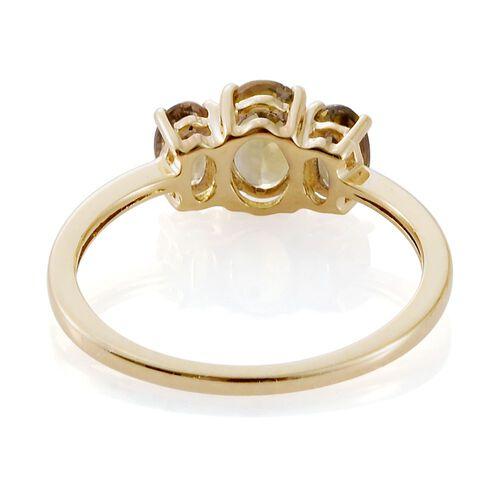 9K Yellow Gold 1 Carat AA Natural Yellow Tanzanite 3 Stone Ring