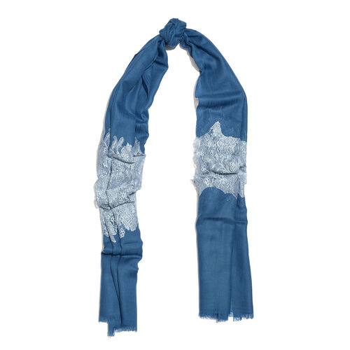 Designer Inspired One Time Offer - Cashmere Wool and Mulberry Silk Shawl With Lace Work and Fringes - Blue (Size 200X70 Cm)