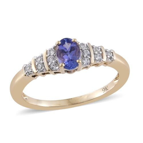 9K Yellow Gold 0.72 Ct AA Tanzanite Ring with Natural Cambodian Zircon