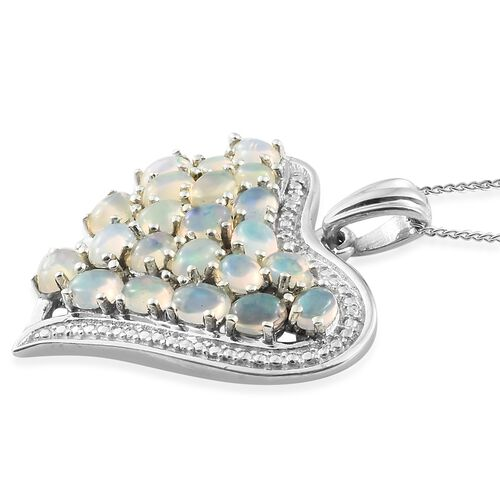 Designer Inspired- Ethiopian Welo Opal (Ovl) Heart Pendant with Chain in Platinum Overlay Sterling Silver 2.250 Ct.