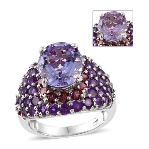 Designer Inspired-Rose De France Amethyst (Ovl), Amethyst and Rhodolite Garnet Ring in Platinum Overlay Sterling Silver 8.250 Ct. Silver wt 6.17 Gms.