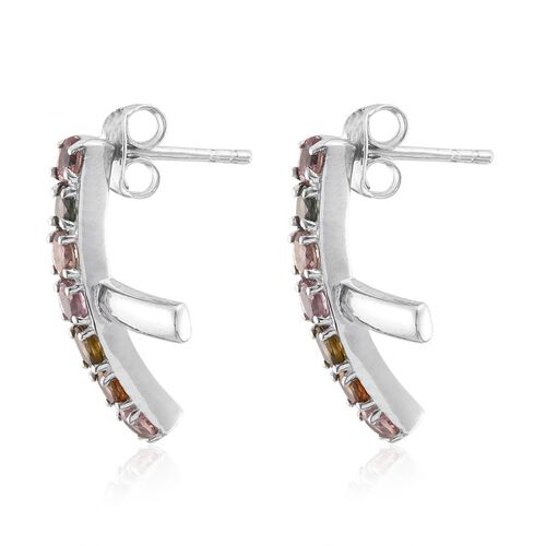 Rainbow Tourmaline (Rnd) Stud Earrings (with Push Back) in Platinum Overlay Sterling Silver 1.500 Ct.