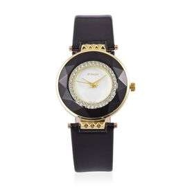 STRADA Japanese Movement White Austrian Crystals Studded White Dial Water Resistant Watch in Yellow Gold Tone with Stainless Steel Back and Black Colour Strap