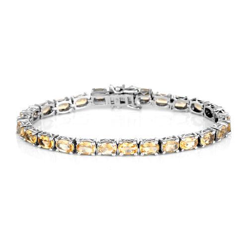 Brazilian Citrine (0.11 Ct) Platinum Overlay Sterling Silver Bracelet (Size 6.5)  0.110  Ct.