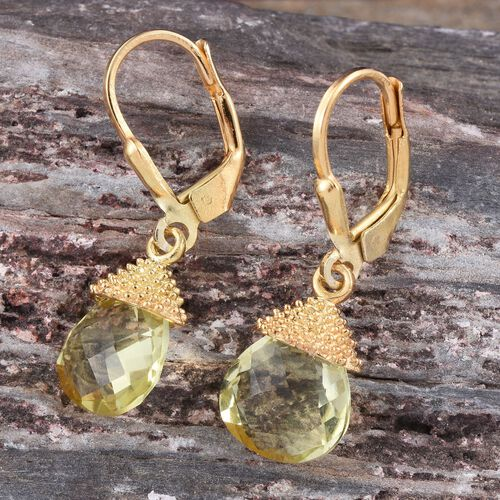 Natural Ouro Verde Quartz (Pear) Lever Back Earrings in 14K Gold Overlay Sterling Silver 4.500 Ct.