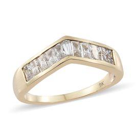 J Francis - 9K Yellow Gold (Bgt) Wishbone Ring Made with SWAROVSKI ZIRCONIA