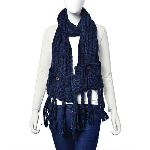 Machine Raised Sweater - Knit Navy Blue Scarf with Pocket (Size 180x26 Cm)