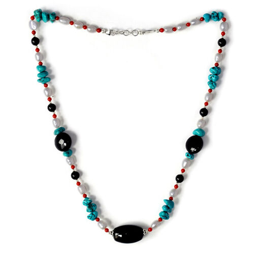 J Francis Florence Black Onyx, Turquoise, Pearl and Enhanced Coral Necklace (Size 23) in Sterling Silver 180.430 Ct.