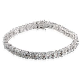 Espirito Santo Aquamarine (Mrq) Bracelet in Platinum Overlay Sterling Silver (Size 8) 10.750 Ct.