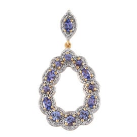 Tanzanite (Rnd), Natural Cambodian Zircon Drop Pendant in 14K Gold Overlay Sterling Silver 4.250 Ct, Silver wt 5.19 Gms.