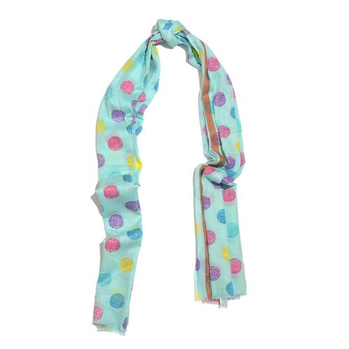 100% Cotton Blue, Purple and Multi Colour Polka Dots Printed Scarf (Size 170X110 Cm)