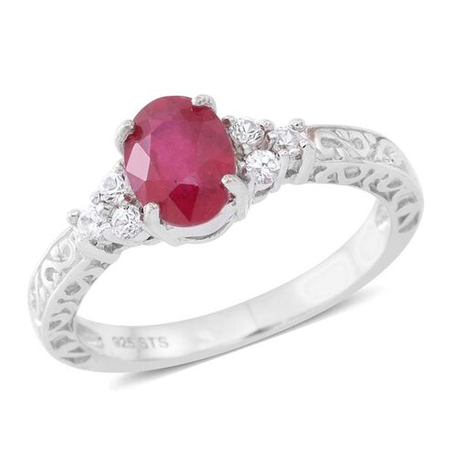 African Ruby (Ovl 1.60 Ct), Natural Cambodian Zircon Ring in Rhodium Plated Sterling Silver 1.850 Ct.