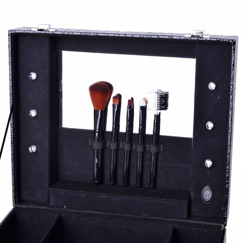 Black Colour Croc Embossed Vanity Box with 5 Pcs Makeup Brushes and 6 LED Lights and Mirror Inside (Size 28.5x23.8x11 Cm)