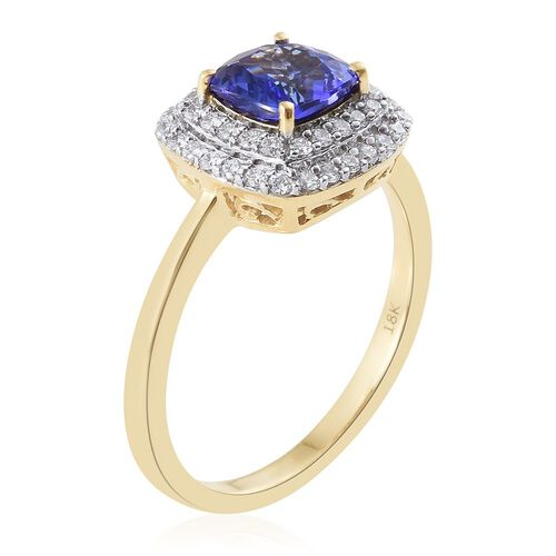 Collectors Edition- ILIANA 18K Y Gold AAAA Tanzanite (Cush 1.60 Ct), Diamond (SI/G-H) Ring 2.000 Ct.