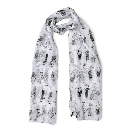 100% Mulberry Silk Black and White Colour Fashion Lady Printed Scarf (Size 175X65 Cm)