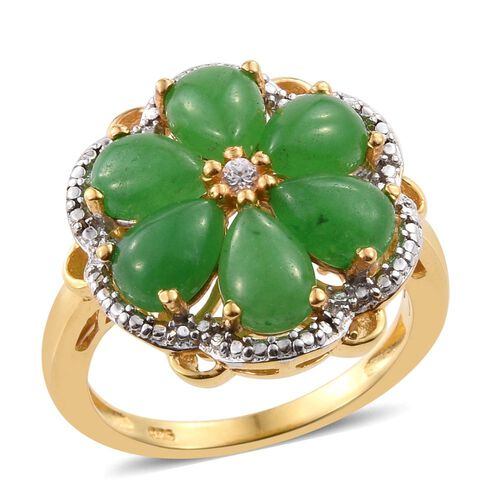 Green Jade (Pear), Natural Cambodian Zircon Floral Ring in 14K Gold Overlay Sterling Silver 5.750 Ct.