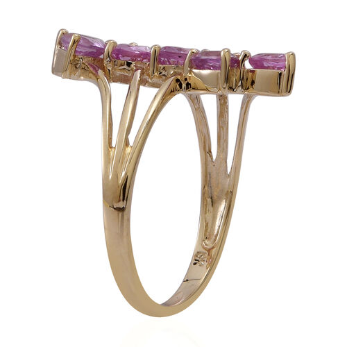 9K Y Gold Pink Sapphire (Trl) 5 Stone Crossover Ring 1.250 Ct.