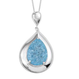 Paraiba Blue Crackled Quartz (Pear) Solitaire Pendant With Chain in Platinum Overlay Sterling Silver 9.000 Ct.