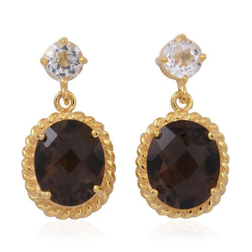 Brazilian Smoky Quartz (Ovl), White Topaz Earrings (with Push Back) in 14K Gold Overlay Sterling Silver 5.500 Ct.